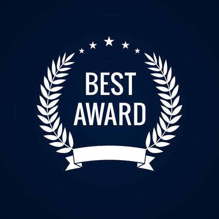 star award: Best award white laurel star. Best award laurel wreath sign. Winner label, leaf symbol victory, triumph and success illustration