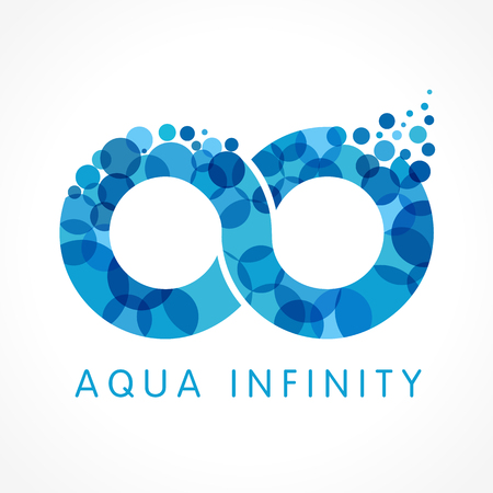 Aqua infinity  . Mineral natural water vector infinity drop icon design. Sea wave bubble splash emblem Vettoriali