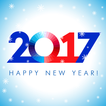 happy new year banner: 2017 happy new year red blue card. Happy holidays card with snow flakes and vector color figures 2017. in 2017 creative design for your greetings card, flyers, banner, party and event