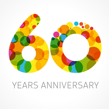 60 years: 60 years anniversary circle colored logo. Template logo 60th anniversary with a circle in the form of a color bubble Illustration