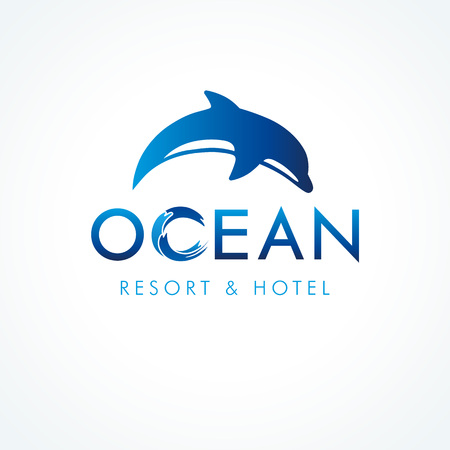 Logo of tourism, resort or hotel by the sea, vector ocean waves symbol and jump dolphin. Ocean dolphin resort & hotel logo