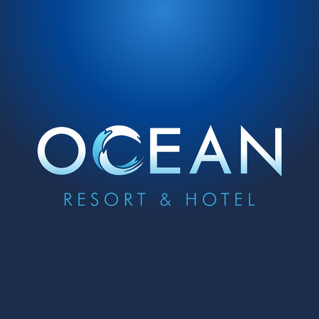 Ocean lettering resort hotel logo. Logo of tourism, resort or hotel by the sea, vector ocean letters and c waves symbol Çizim