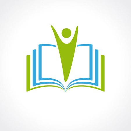 Formación vector plantilla de logotipo libro abierto y humano. Insignia de la educación libro abierto. La escuela, la universidad, el concepto académico y universitario símbolo