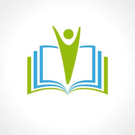 Onderwijs vector logo template open boek en de mens. Onderwijs logo open boek. School, universiteit, academische en college begrip symbool