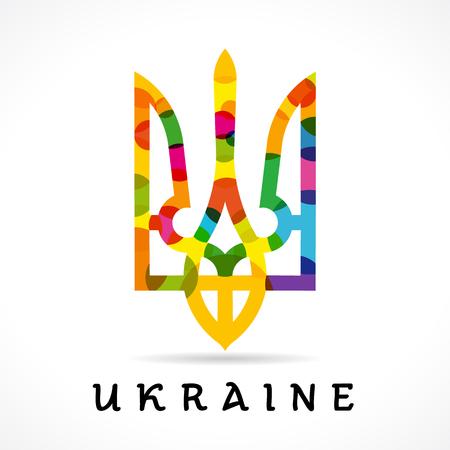 ukraine: Ukraine coat of arms, vector national emblem in bright rainbow colors isolated on white background. Ukraine emblem colored