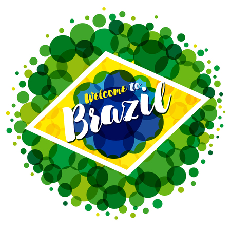 Inscription welcome to Brazil vacation on a background watercolor colored bubbles, colors of the Brazilian flag. Welcome to brazil banner