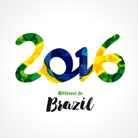 janeiro: 2016 welcome to Brazil banner. Inscription 2016 on a background watercolor stains, colors of the Brazilian flag and text welcome to Brazil