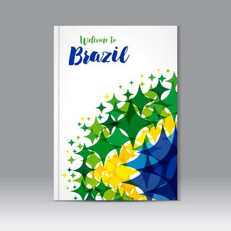 抽象的な構成、色の星の図のアイコン、テキスト背景の水彩画にブラジルへようこそ星 a4 パンフレット タイトル、ブラジルの国旗の色です。ブラジ