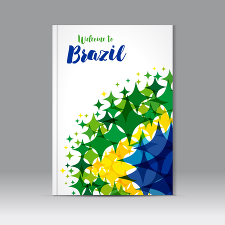Abstract composition, colored star figure icon, text welcome to Brazil on a background watercolor stars colors of the Brazilian flag, a4 brochure title sheet. Welcome to Brazil cover