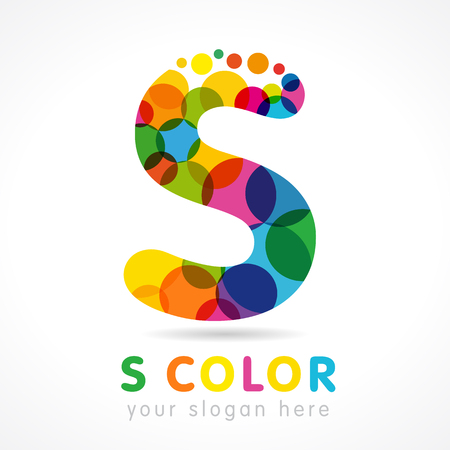 buble: Letter s business colorful  vector template, Speak Up club S icon in buble color. Colored S