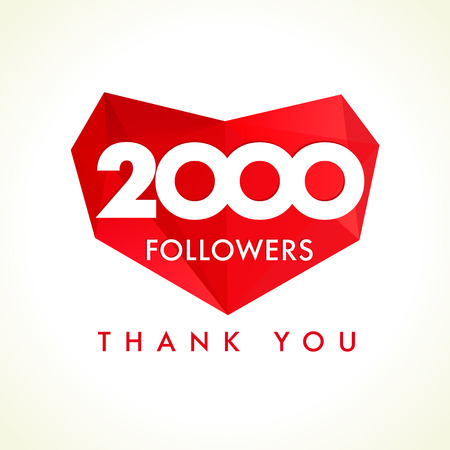 The 2000 followers thanks card for network friends with red facet heart. 2000 followers thank you heart Vectores