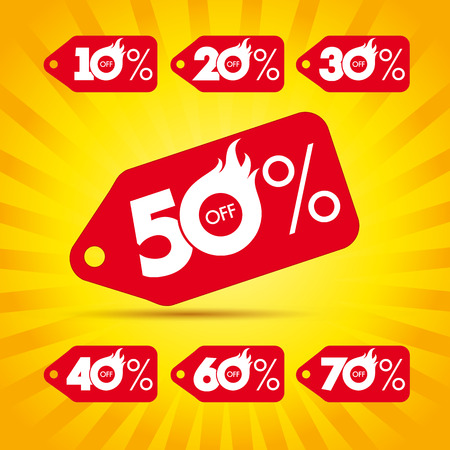 Discount label hot sale. Sale template label hot 50% offer