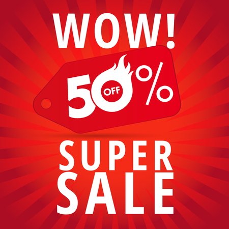 WOW super sale 50% off banner. Wow super sale template discount poster hot 50% offer