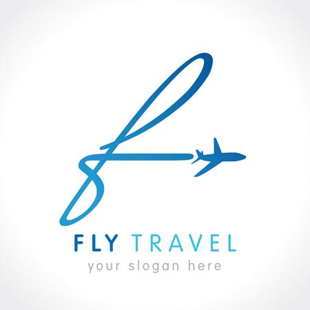 """F logotipo de la empresa de viajes de vuelo. Diseño del logotipo del viaje de negocios de la línea aérea con la letra """"F"""". Plantilla de la insignia del vector del viaje de la mosca Logos"""