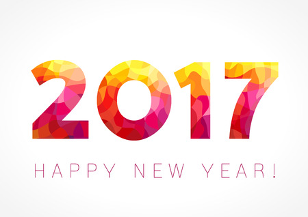 happy new year banner: 2017 happy new year red card. Happy holidays card with red color facet figures in 2017 and greeting text