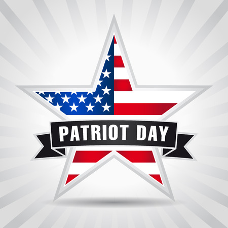 patriot: Patriot day USA star ribbon. Patriot Day September 11, we will never forget banner