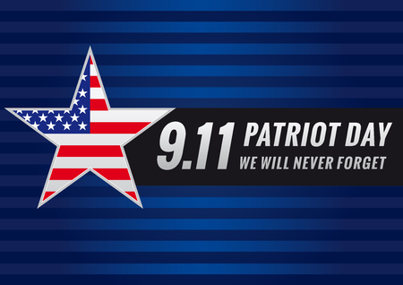 Patriot day USA star banner. Patriot Day September 11, we will never forget vector banner