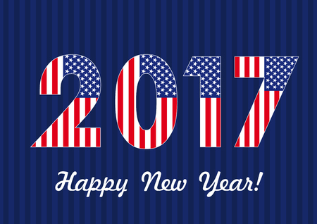 happy new year banner: 2017 happy new year USA banner. Vector card Happy New Year 2017 with American flag