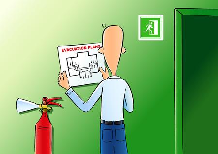 Los planes de evacuación y Apagamiento de Fuegos fuego. Ilustración vectorial de un hombre cuelga el plan de evacuación de la pared de la oficina