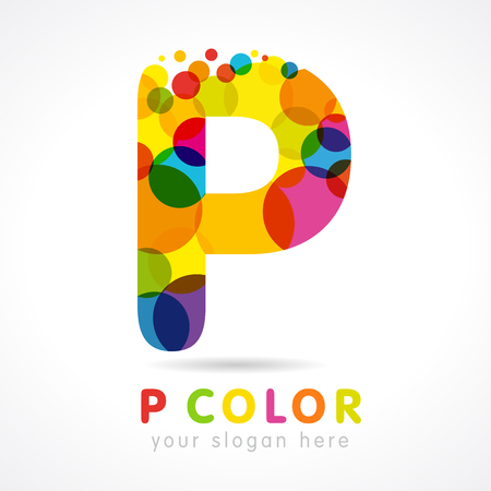 Colored P logo. Letter