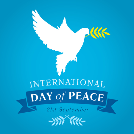 International Day of Peace banner. Peace dove with olive branch for International Peace Day vector banner