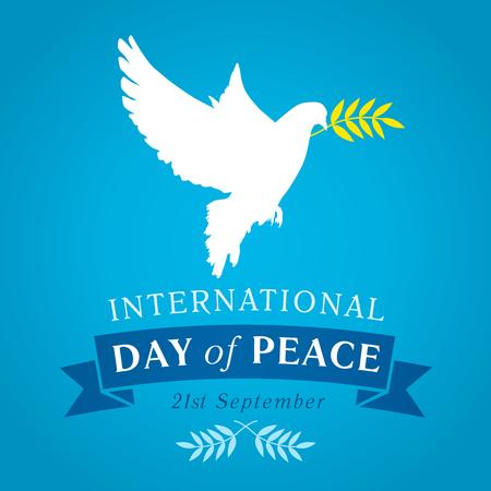 Internationaler Tag des Friedens Banner. Peace Taube mit Olivenzweig für International Peace Day Vektor Banner