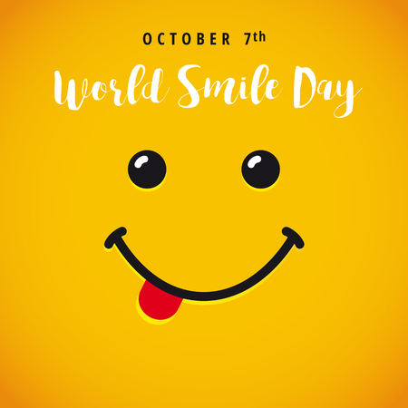 World Smile Day banner. Smile with tongue and lettering World Smile Day on yellow background