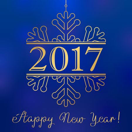 happy new year banner: 2017 gold winter snow happy new year card. Happy holidays card with number 2017 in gold snowflake and an inscription Happy New Year Illustration