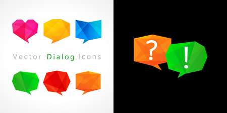 Set of vector dialog icons. Business or educational discussion cloud sign. FAQ logo.