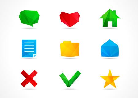 Set of web network communication or interface vector icons. Symbols of speaking, like, home, create, make, new, document, folder, save, page, yes, no, open, star, message in transparence style.