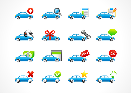 home page: Set of interface vector icons for cars service or lease business. To buy car, auto parts, home page, tire, new, yes, no, star, message, best offer, contact us, sales leader in car business. Web signs for taxi.