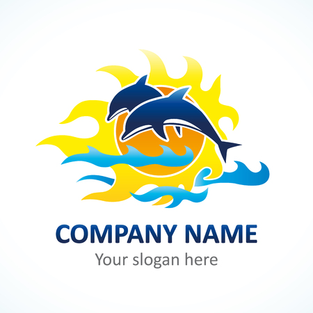 Dolphins and sun logo. Tourism, resort or hotel by the sea sign.