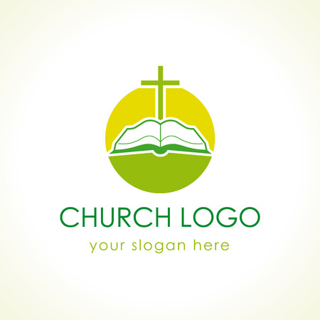 Cross on the bible green logo. Open book vector icon. Template logo for churches and Christian organizations. Vettoriali