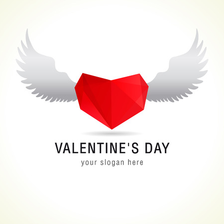 facet: Valentines Day logo. Heart on wings sign. Love flying icon. Facet vector holiday symbol.