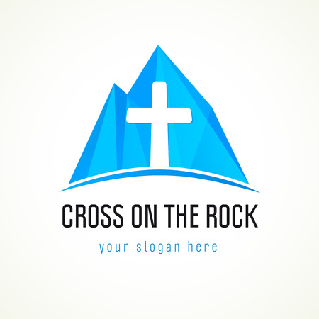 Cross on the rock logo. Christian church sign and mountain.
