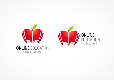 Online education logo, open apple book. Internet network school icon. Vector sign.