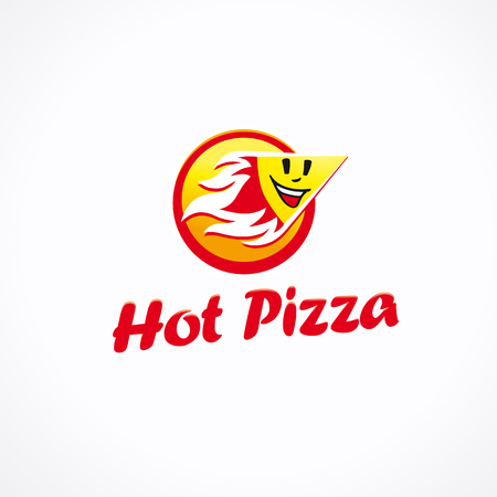 Hot pizza logo. A piece of cake with smile face in fire sign. Vector icon. Illustration