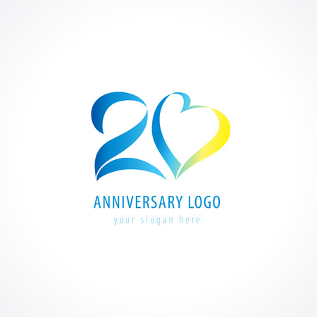 twenty: 20th anniversary logo. Numbers of birthday years icon in the shape of tape heart. Vector figures symbol.