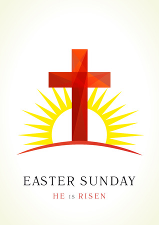 calvary: Easter holy sunday  card. Facet cross on Calvary in sun light icon. Holiday greetings symbol.