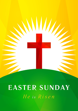Easter holy sunday  card. Facet cross on Calvary in sun light icon. Holiday greetings symbol. Church sign.