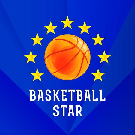 tourney: Basketball star logo. Ball icon for sport championship sign.