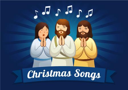 caroling: Christmas caroling  card. The shepherds are singing carols in the Christmas night Illustration