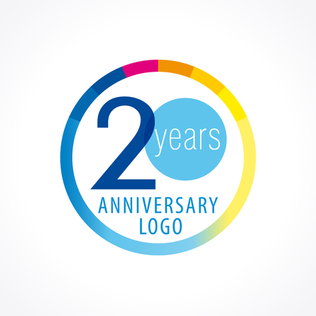 20th anniversary logo. Numbers of birthday years icon in the shape of chart. Vector figures of age symbol.