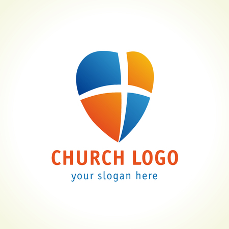 Christian church logo. Cross, heart and shield vector icon. Symbol of gods protection. Illustration