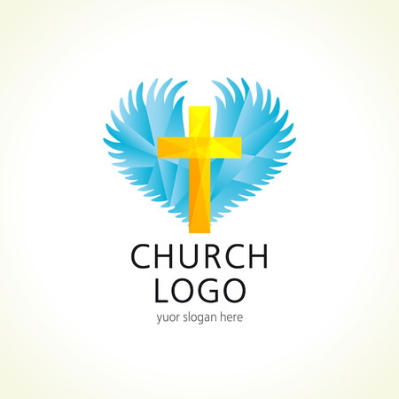 Vector logo for church, christian mission or organization. Facet cross, wings ahd heart sign. Illustration