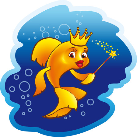 Golden fish princess vector animation illustration. Ethnic fairy magic symbol of miracles. Vintage sea animals queen sign with wand. Beauty and fashion or wealth and success icon. Holiday logo.