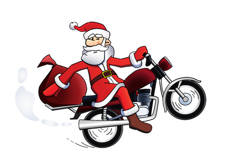 Santa bike holiday card. Happy Santa Claus on red motorbike template vector illustration