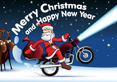 Frohe Weihnachten Motorrad.Weihnachtsmann Tragt Eine Sonnenbrille Und Fahren Motorrad