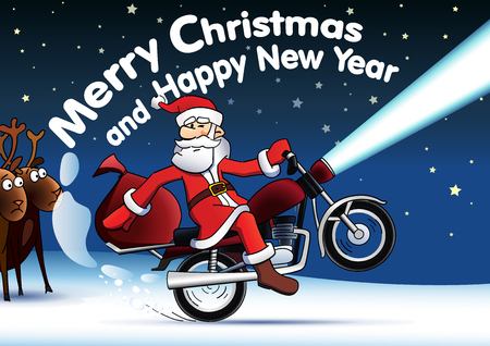 Santa on red motor bike new year card. Merry Christmas and Happy New Year, Santa Claus ride the motorcycle and deer