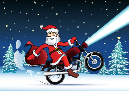 Santa bike new year card. Funny Santa Claus with christmane tree on the Funs gifts on a bike and piny Santa Claus with christmas gifts on a bike and pine tree on the night sky with stars background Illustration